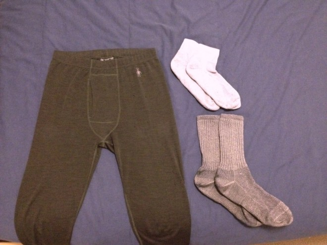 Cold weather travel gear long underwear and socks
