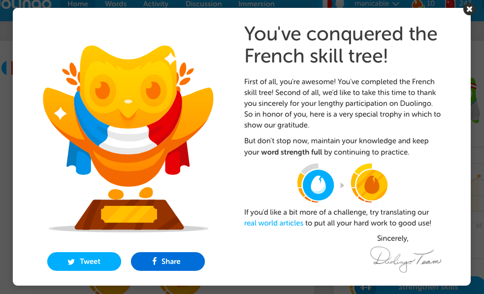 A thorough Duolingo review after finishing all of French