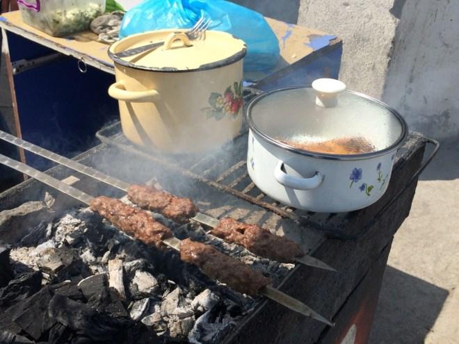 Lula kebab on the grill
