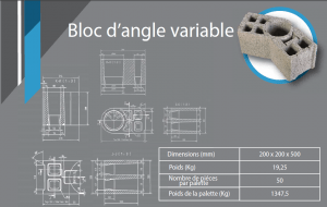 bloc d'angle variable 200x200x530