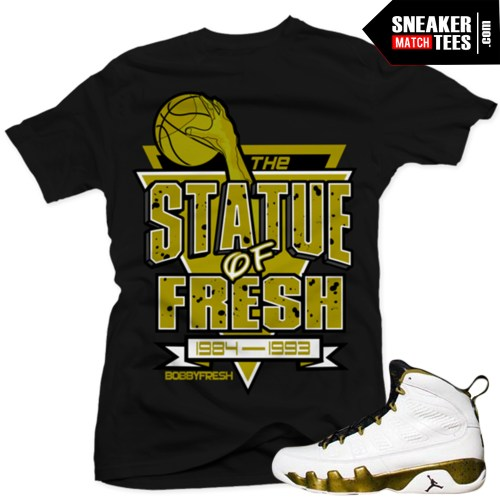 jordan 9 statue t shirts to match sneakers jordan 9 statue