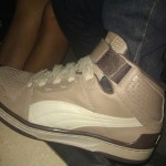 Puma high tops at dinner party in Hollywood