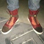 Atelier Arthur&#039;s burgandy orange and black high tops at South by Southwest in Austin