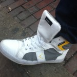 Sonneti high tops white grey and yellow at South by Southwest in Austin, TX