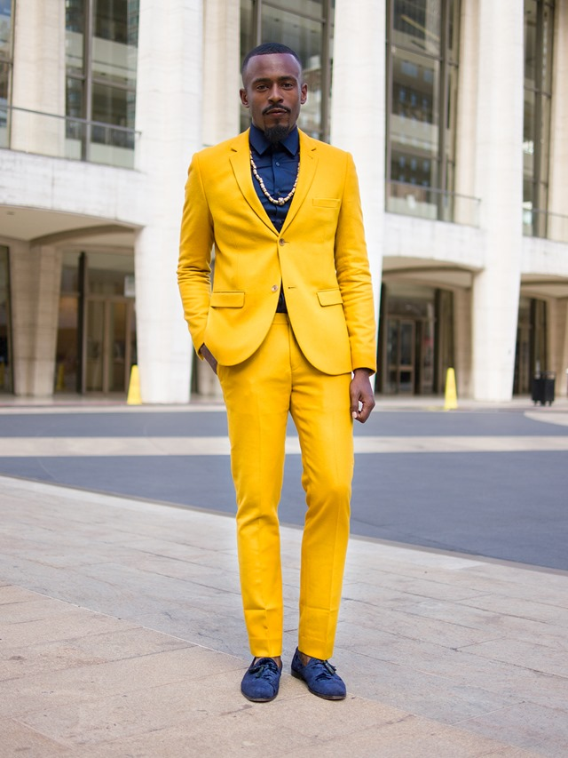 All yellow suit, New York Fashion Week S/S 2014 Street Style