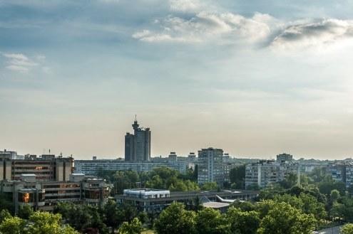 Novi Beograd mit Genex-Turm, Blick vom Falkensteiner Hotel