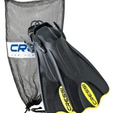Cressi Palau Short Fins with Mesh Bag Snorkel Packages – Yellow, Size – MDLG