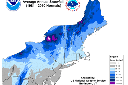 noaa map who gets the most snow in the northeast usa