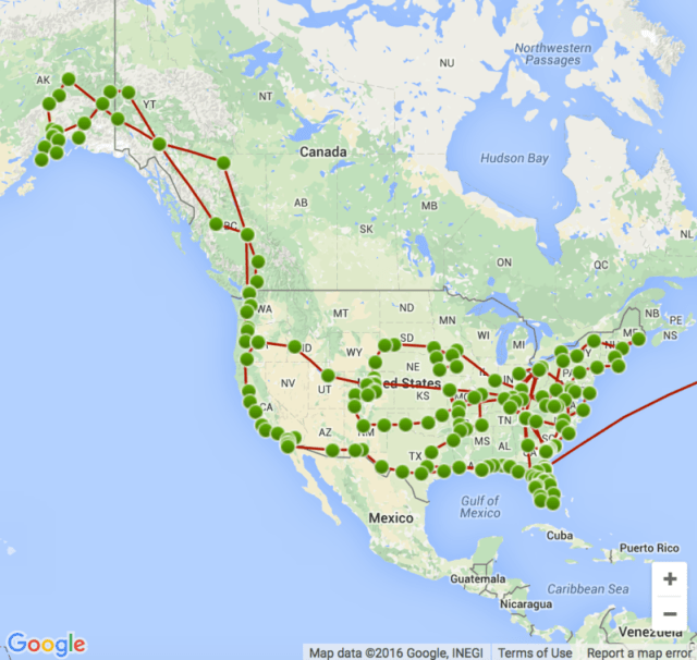 Three years on the road, on a map