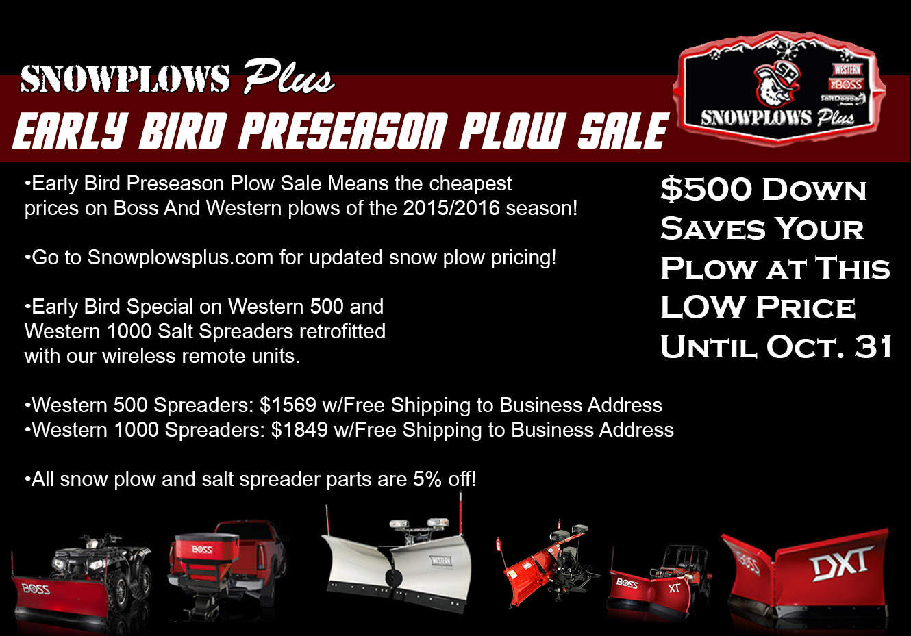 snow plow pricing, snow plow, western snow plow pricing, boss snow plow pricing, boss plow pricing, western 500 tailgate spreader, western 1000 tailgate spreader