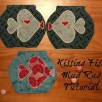 Valentines Kissing Fish Mug Rug Tutorial