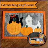 October's Halloween Mug Rug - Hiding in the Pumpkin Patch