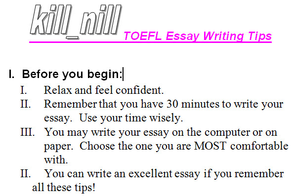 writing tips for toefl essays