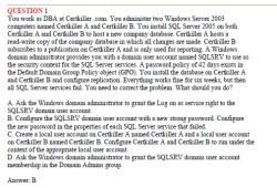 Microsoft Exam 070-447: UPGRADE: MCDBA Skills to MCITP Database Administrator by Using Microsoft SQL Server 2005