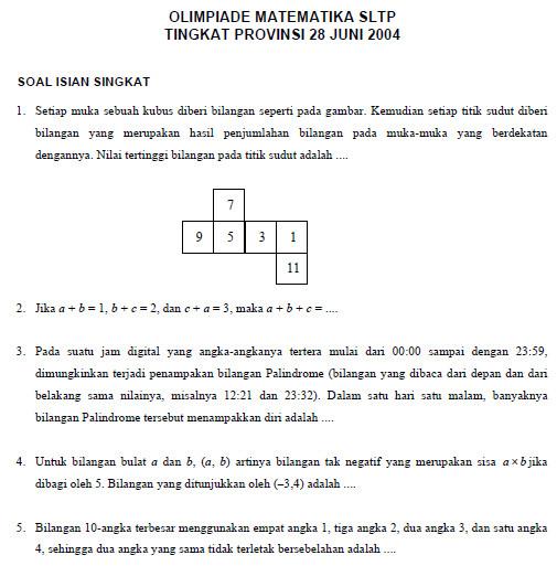 Soal Olimpiade Matematika Smp Bank Soal Ujian