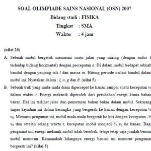 Soal Jawab Olimpiade Sains Nasional OSN 2007 Fisika SMA