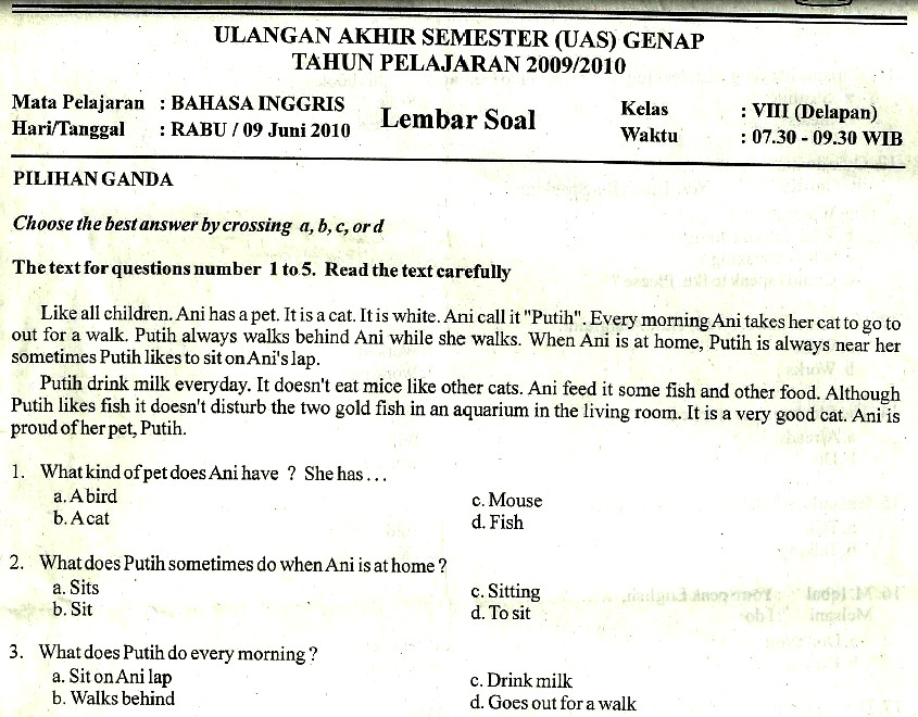 Soal Ulangan Akhir Semester Bahasa Inggris SMP Kelas 8