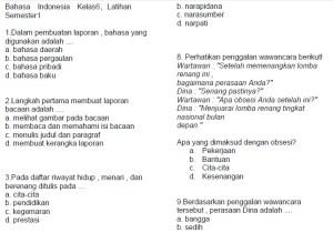 soal latihan ujian kelas 6 semester 1 bahasa indonesia