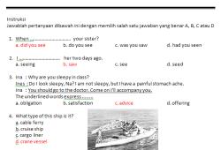 Soal Jawab Bahasa Inggris SMK Kelas 2 (SMK Maritim Tanjung Pinang)