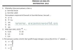 Prediksi Ujian Nasional Matematika SMA 2012