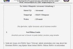 Soal Tes Seleksi Olimpiade Astronomi SMA