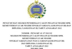 Info Lowongan CPNS kementerian Luar Negeri 2012