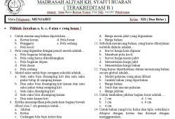Soal Ujian Semester (UAS) Menjahit untuk Madrasah Aliyah (MA)