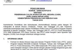 Penerimaan CPNS/CASN Guru Garis Depan (GGD) Kemendikbud 2016