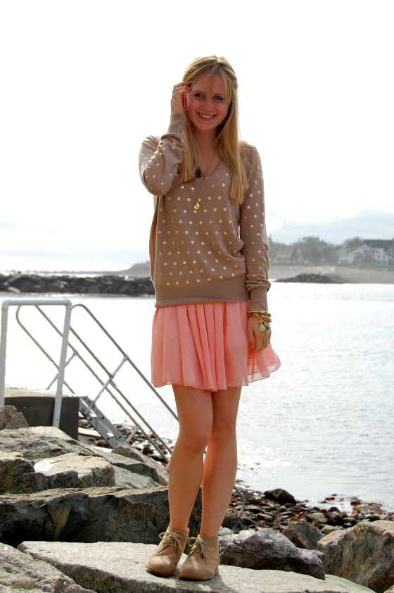 gold polka dot sweater