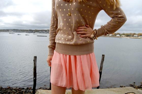 pink chiffon skirt american apparel