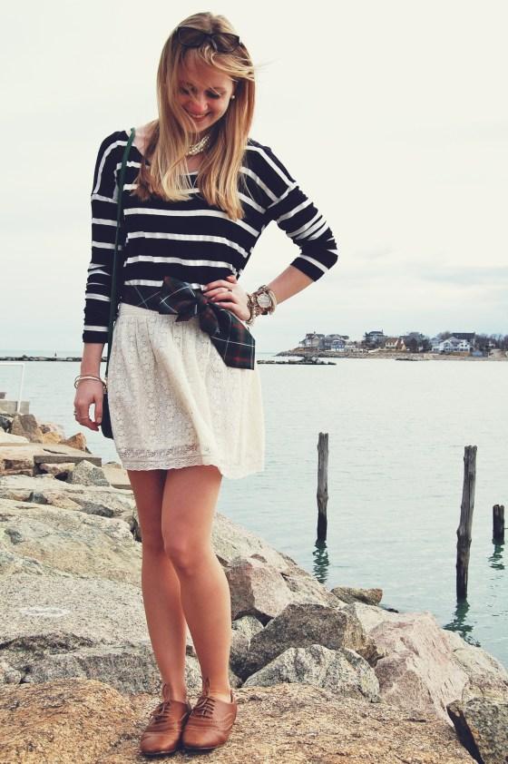 striped shirt lace skirt