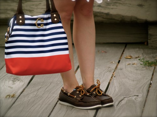 navy orange striped c wonder bag