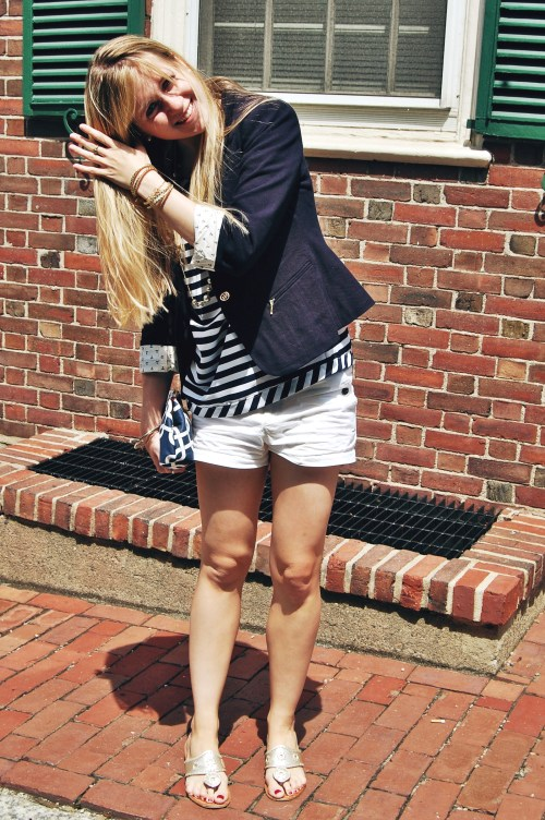 anchor lining; striped navy top gold buttons