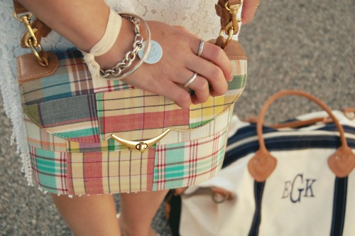 pastel plaid satchel purse