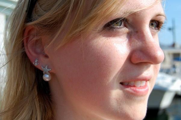 starfish pearl anchor earrings