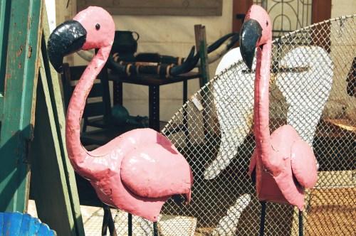 vintage lawn flamingos