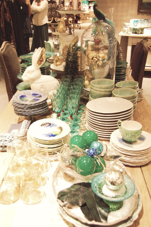 turquoise and green holiday table decor