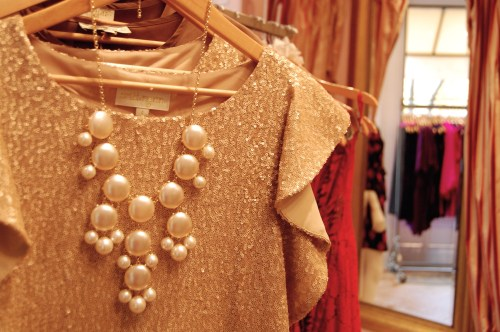 Pearl Bubble Necklace; Gold Sequin FLutter Sleeve Dress