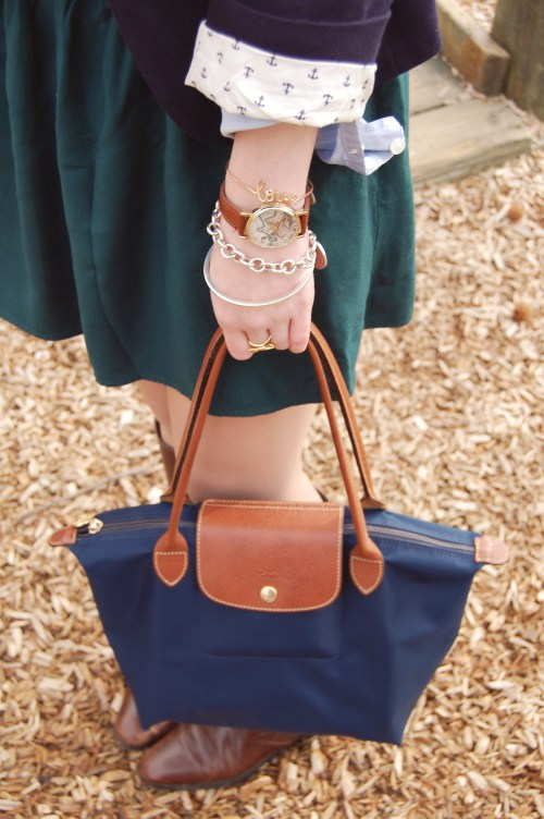 Medium Navy Longchamp Le Pliage
