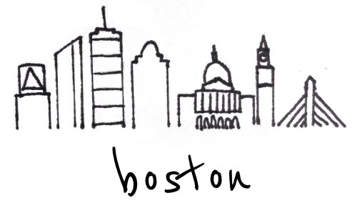 Boston Skyline Illustration // shell chic'd