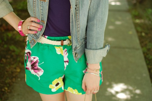 Green Purple Yellow Floral Shorts