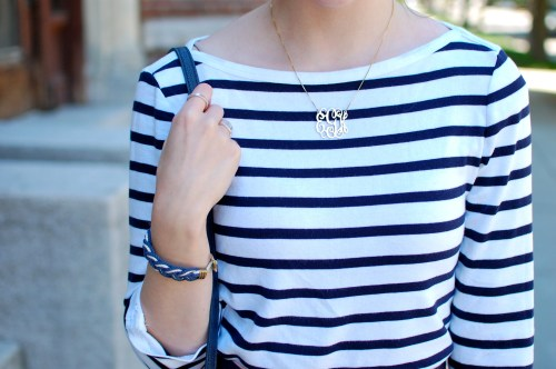 Striped Tee + Gold Monogram Necklace