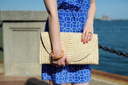 Straw Clutch; Starfish Bracelet