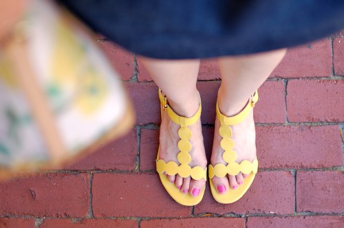 Boden Yellow Dotted Sandals