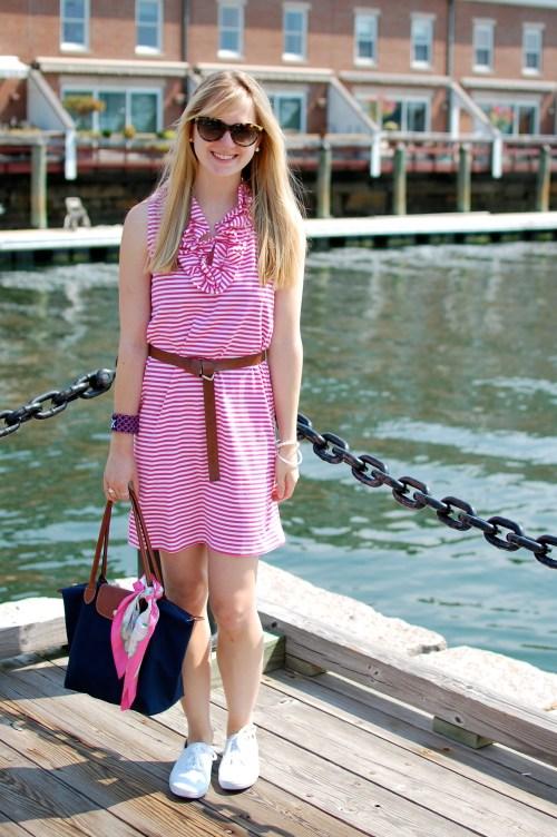 Preppy Pink Striped Ruffle Sundress