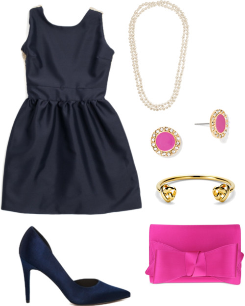 Navy + Pink Wedding Guest Outfit