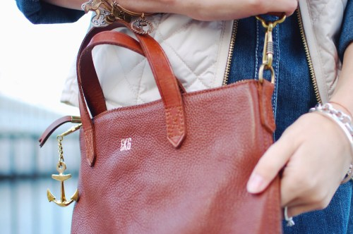 Gold monogrammed leather bags