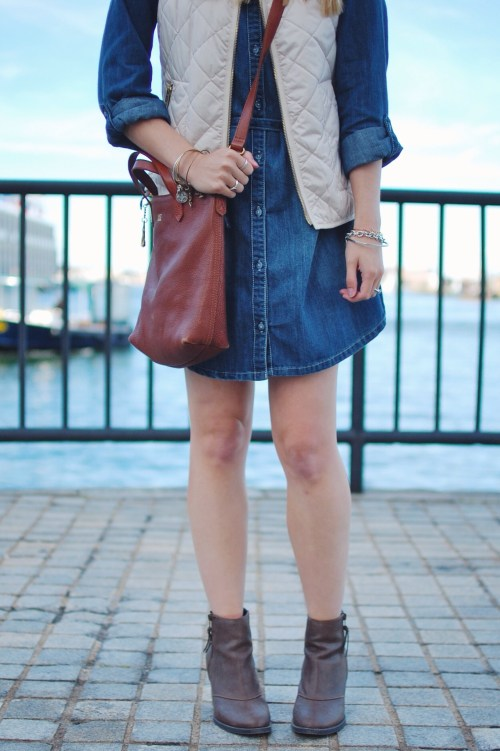 Denim Shirtdress + Puffer Vest