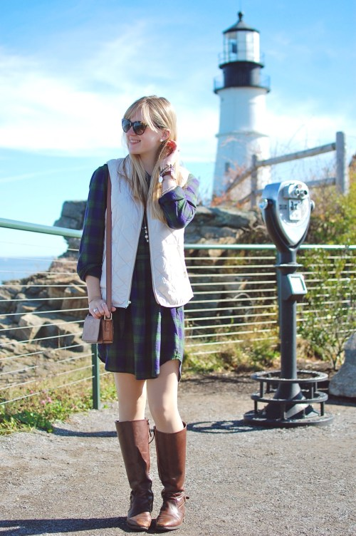 Green Navy Plaid Shirtdress