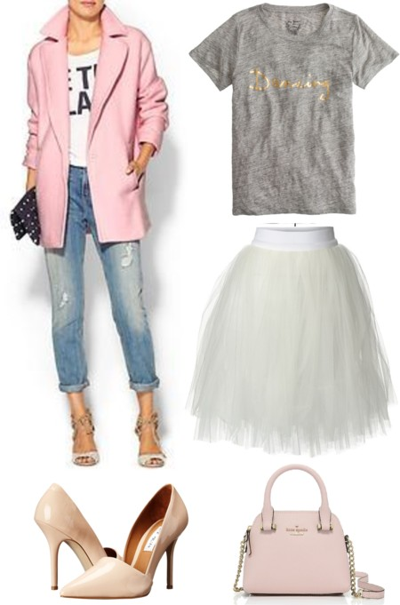 Tulle Skirt; Blush Coat